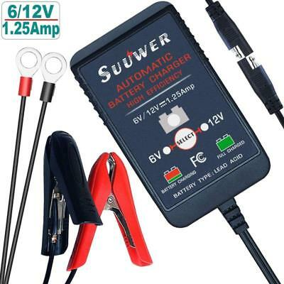 Suuwer Fully Automatic Trickle Battery Charger 6V/12V 1.25A Smart Battery Charge