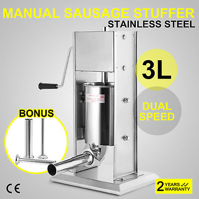 3L Sausage Filler Stuffer Maker W/4 Tubes Stainless Professional Commercial
