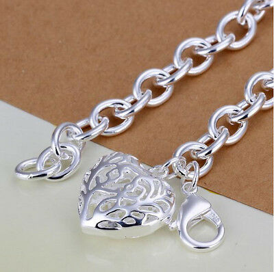 Charm Women 925 Silver Plated Hollow Heart Pendant Bangle Chain Bracelet Jewelry