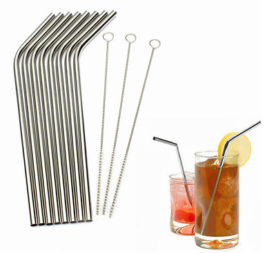 Stainless Steel Metal Drinking Straw Reusable Cleaner Brush for All Party Bar UK