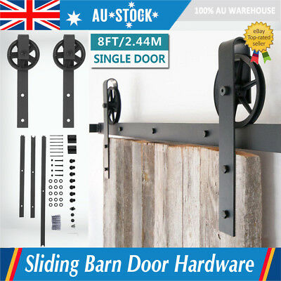 2.44M Sliding Barn Door Hardware Track Rail Kit with Rollers Big Spoke Shaped