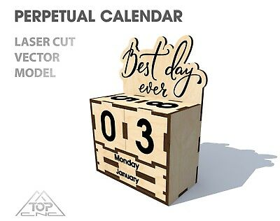 FILE DXF CDR EPS AI SVG for Laser Cut or CNC ROUTER Perpetual calendar