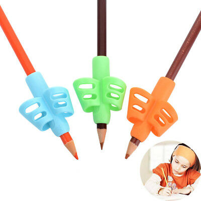 3x Two-finger Grip Silicone Baby Pencil Holder Learn Writing Tools Writing Pen