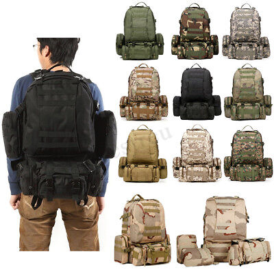 50L Molle Assault Military Tactical Outdoor Rucksacks Backpack Camping Bag Nylon