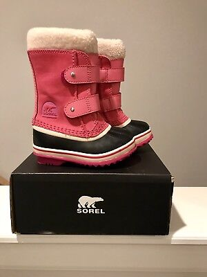 4507304a3f250 NEW Sorel 1964 PAC Strap Boots Pink Kids Girls Size 8 Suede Leather Toddler