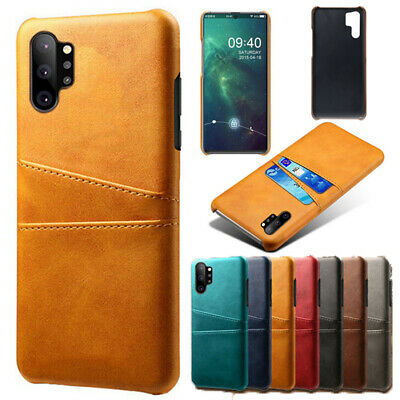For Samsung S8/S9 Plus A7 2018 Slim PU Leather Card Pocket Hard Back Case Cover