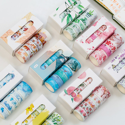 5Pcs/pack Cute Washi Tape Set Petal Flower Sky Sea Paper Masking Tape Washi Tape