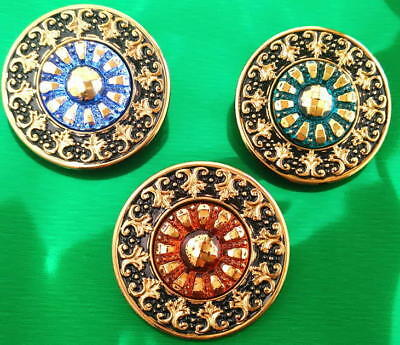 Collection of 3 Glass Buttons #G858 - RARE - LARGE (34 mm) - WOW!!!
