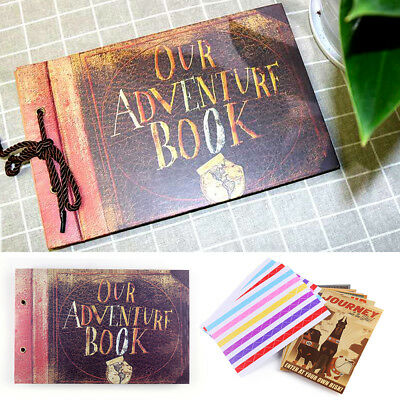 Vintage Photo Album Our Adventure Book Memory DIY Anniversary Scrapbook Travel.