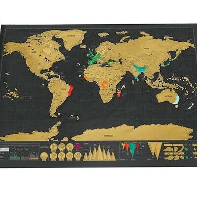 New Deluxe Travel Edition Scratch Off World Map Poster Personalized Journal Big