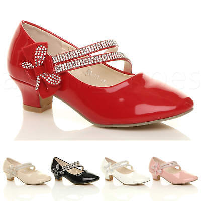 Girls Kids Childrens Low Heel Strap Bow Bridesmaid Party Formal Shoes Size