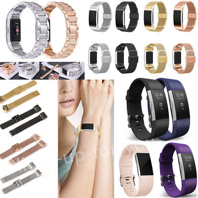 Stainless Steel Crystal/Milanese Magnetic Watch Strap Band For Fitbit Charge 2