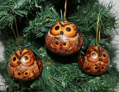 Peruvian Gourd Ornament Father and Son Owl Set of 3 New