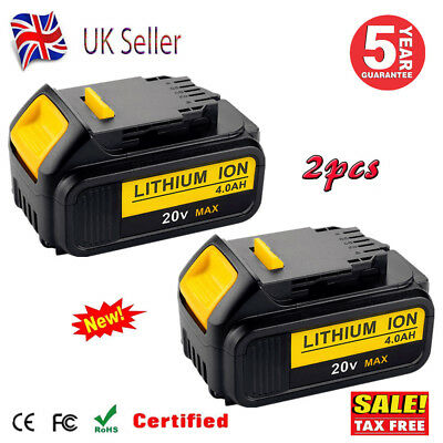 2X 4.0Ah Li-Ion Battery For Dewalt 18V XR Slide DCB182 DCB184 DCF885 Cordless UK