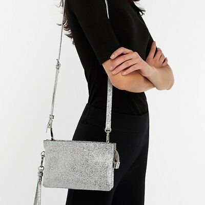 Accessorize Monsoon Silver Cross Body Clutch Bag Wedding Prom Party Evening New