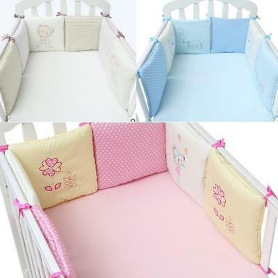 6Pcs Baby Crib Bumper Infant Cot Safety Protector Cushion Nursery Bedding Bed UK