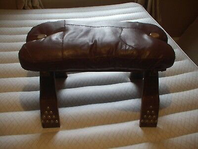 Vintage Egyptian Camel Foot Stool Ottoman Saddle Leather Wood
