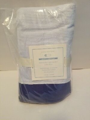 Pottery Barn Kids Nantucket Seersucker Baby Crib Skirt Boys Blue Organic NWT