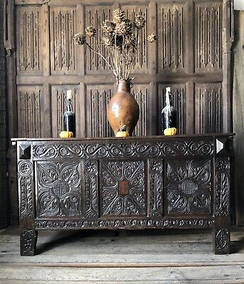 A 17th Century Carved Oak Coffer West Country