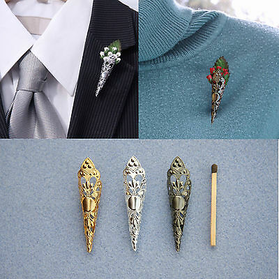 "POINTED DECO ""Poirot"" Brooch/Lapel Pin Vase for Corsage*Buttonhole*Boutonniere"
