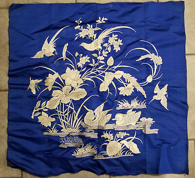 Antique Vintage Chinese Japanese Silk Embroidered Robe Panel Birds Embroidery