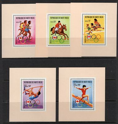 Olympics Montreal 1976, Upper Volta, Set of 5 Imperf Deluxe Sheets MNH
