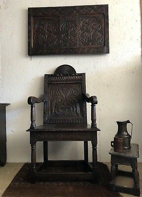 A mid 17th Century carved Oak Wainscot chair. Salisbury workshop.
