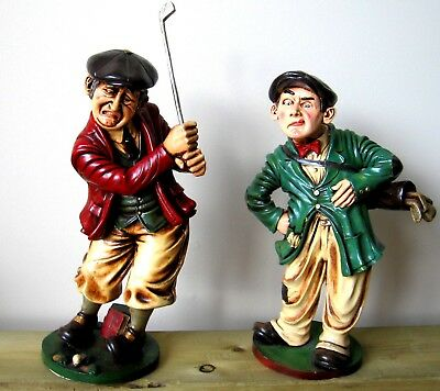 """PETER MOOK Golf """"The Swing"""" & Caddy (2) 14"""" x 8"""" Statues"""
