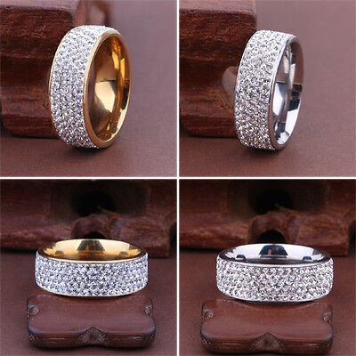 Men Women Stainless Steel Crystal Band Ring Gold Silver Wedding Band Ring Sz6-10