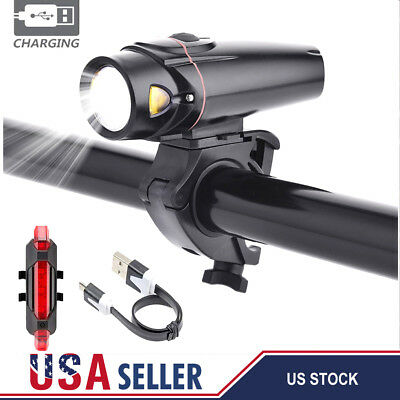 USB LED Rechargeable Bycicle Light Headlight Bike Headlamp Torch Taillight Set