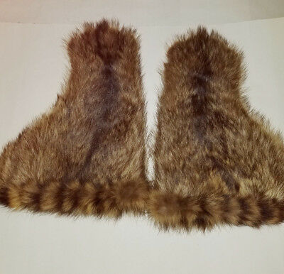 Antique Vintage Fur Stage Coach Gauntlet Gloves