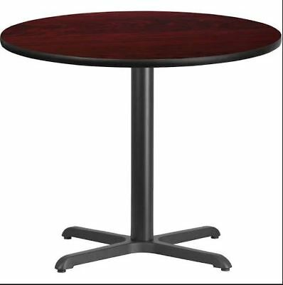 "36"" Round Mahogany or Black Laminate Restaurant Table Top Base Dining Height"