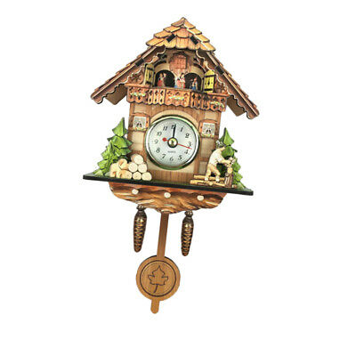 Wooden Cuckoo Clock Decorative Wall Clock with Quartz Movement Gift C