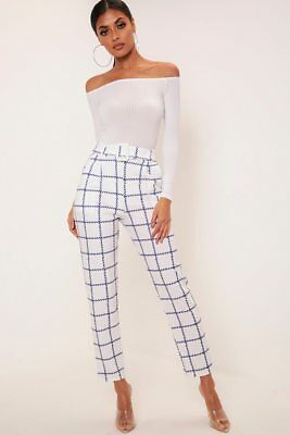 Womens High Waist Check Tartan Skinny Slim Cigarette Tapered Trousers Pants UK