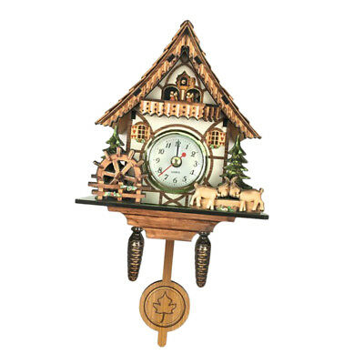 Wooden Cuckoo Clock Decorative Wall Clock with Quartz Movement Gift E