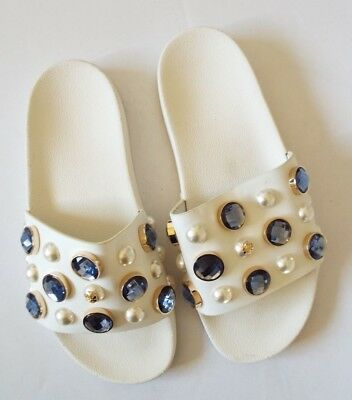 374118309 TORY BURCH VAIL Embellished Sandals Slides Logo Shoes White Size 6 ...