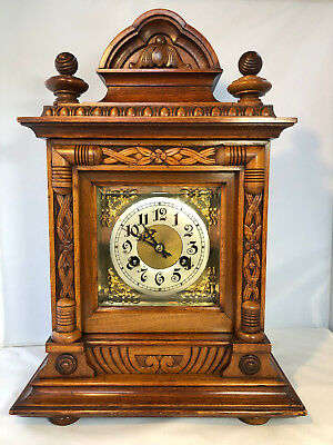 Edwardian Mahogany Cased Antique Junghans Bracket Clock