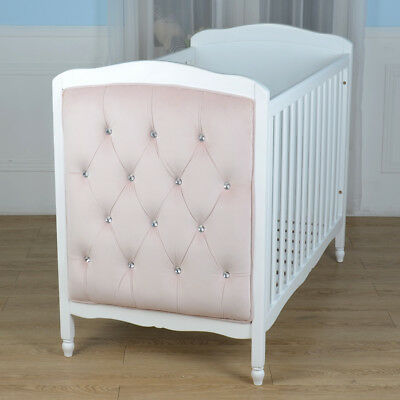 Deluxe Velvet Cot Bed Pink Silver White Wood