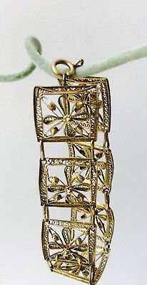 Vintage Sterling Silver Filigree Portuguese Bracelet Vermeil Gorgeous Gold color