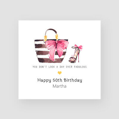 Personalised Handmade 50th Birthday Card - For Her, Mum, Friend, Sister, Fashion