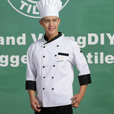 Chef Jacket Food Service Long Sleeve Hotel Kitchen Unisex Uniform Overall Suit