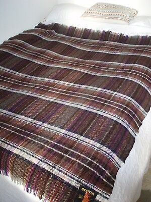 "SUPERB Vintage SCOTTISH Country Woven 100% WOOL large BLANKET/THROW. 65"" x 57.5"""