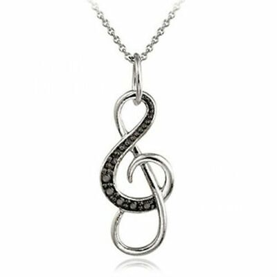 0.50ct TDW Black or Blue & White Diamond Open Music Note Charm Necklace Pendant
