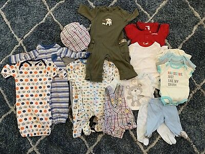 Baby Boy size NB & 0-3 Months Clothes Lot 19 Pieces