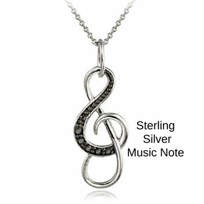 0.50ct TDW Black & White Diamond Open Music Note Charm Necklace Pendant Brass
