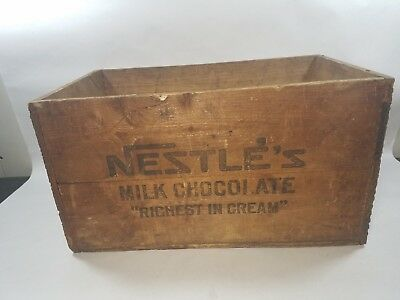 Early Nestle's Milk Chocolate dovetailed wooden box / crate