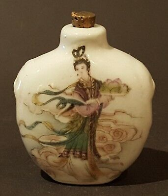 Chinese ceramic vintage Victorian oriental antique hand painted snuff bottle