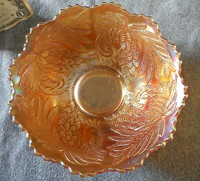"Antique Fenton Marigold Carnival Glass Pinecone 6"" Ice Cream Bowl"