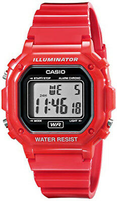 Casio Men's Quartz Illuminator Gray Dial Red Resin Band 43mm Watch F108WHC-4A