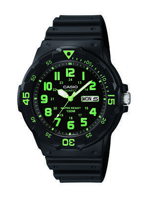 Casio Men's Quartz 'Dive Style' Green Index Black Resin 45mm Watch MRW200H-3BV